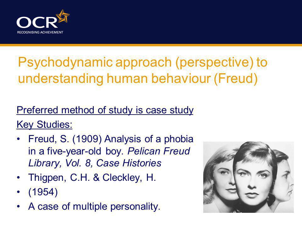 Psychodynamic approach (perspective) to understanding human behaviour (Freud) Preferred method of study is case study Key Studies: Freud, S.