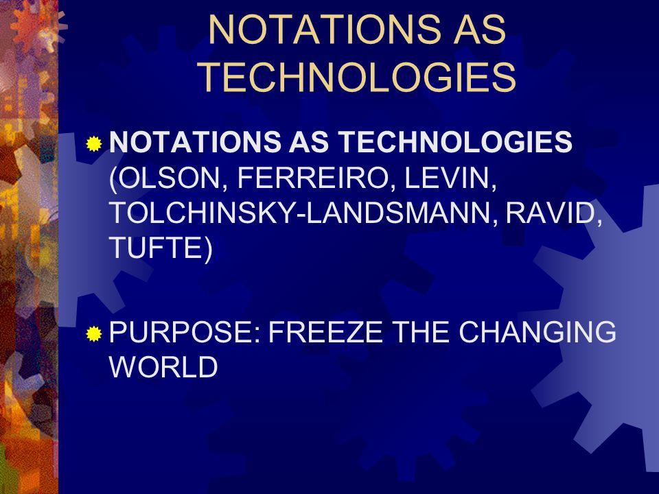 NOTATIONS AS TECHNOLOGIES  NOTATIONS AS TECHNOLOGIES (OLSON, FERREIRO, LEVIN, TOLCHINSKY-LANDSMANN, RAVID, TUFTE)  PURPOSE: FREEZE THE CHANGING WORLD