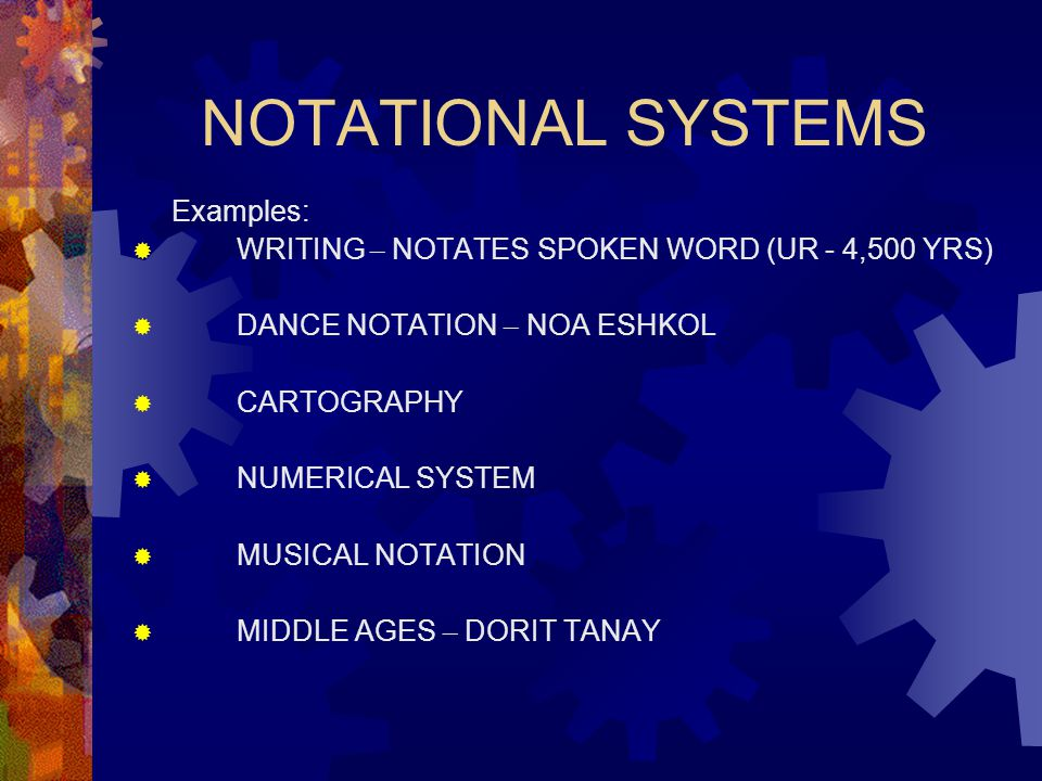 NOTATIONAL SYSTEMS Examples:  WRITING – NOTATES SPOKEN WORD (UR - 4,500 YRS)  DANCE NOTATION – NOA ESHKOL  CARTOGRAPHY  NUMERICAL SYSTEM  MUSICAL