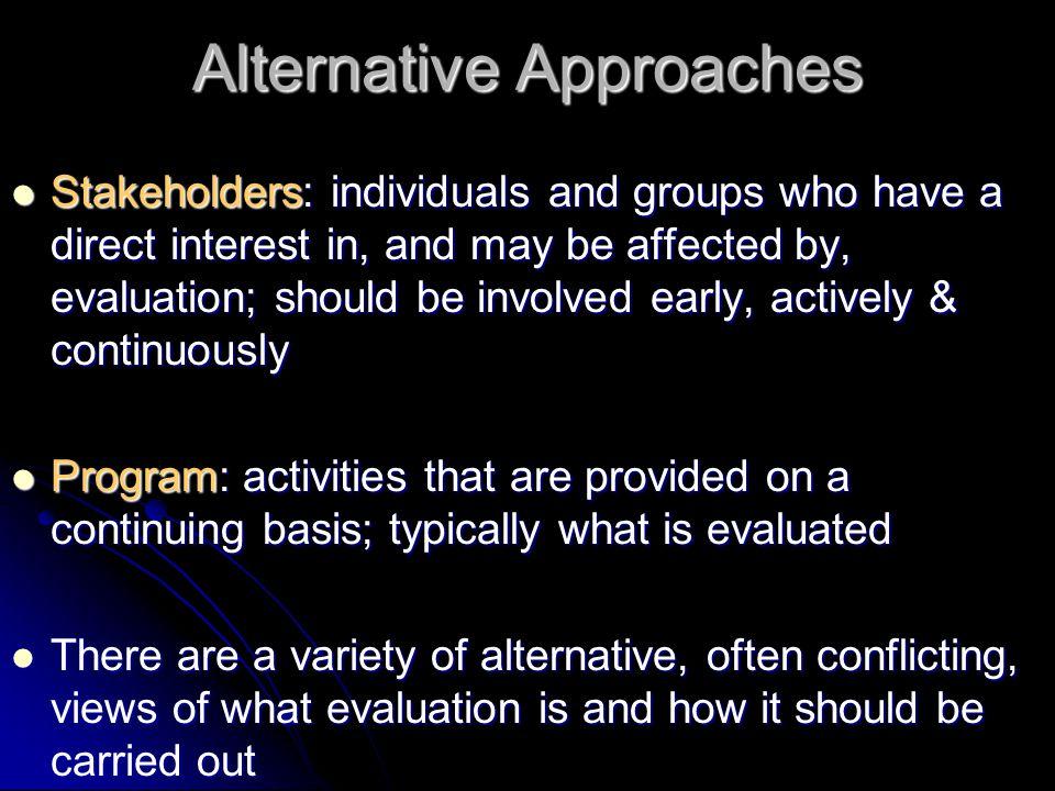 Why so many alternatives.