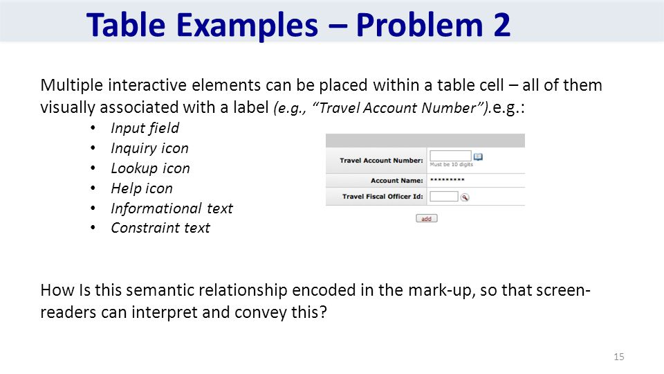 Table Examples – Problem 2 Multiple interactive elements can be placed within a table cell – all of them visually associated with a label (e.g., Travel Account Number ).