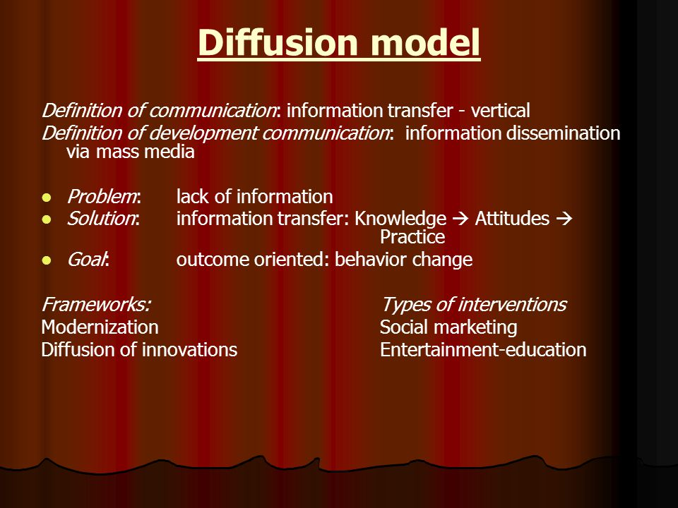 Diffusion model Definition of communication: information transfer - vertical Definition of development communication: information dissemination via mass media Problem:lack of information Solution:information transfer: Knowledge  Attitudes  Practice Goal:outcome oriented: behavior change Frameworks: Types of interventions Modernization Social marketing Diffusion of innovations Entertainment-education