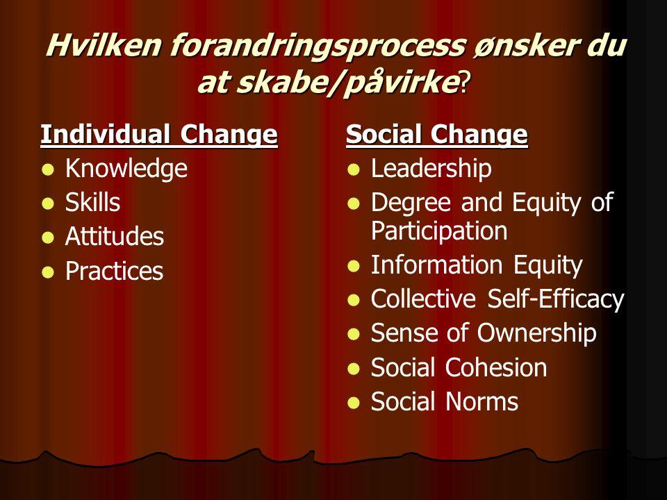 Hvilken forandringsprocess ønsker du at skabe/påvirke.