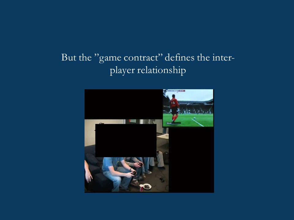 "But the ""game contract"" defines the inter- player relationship"
