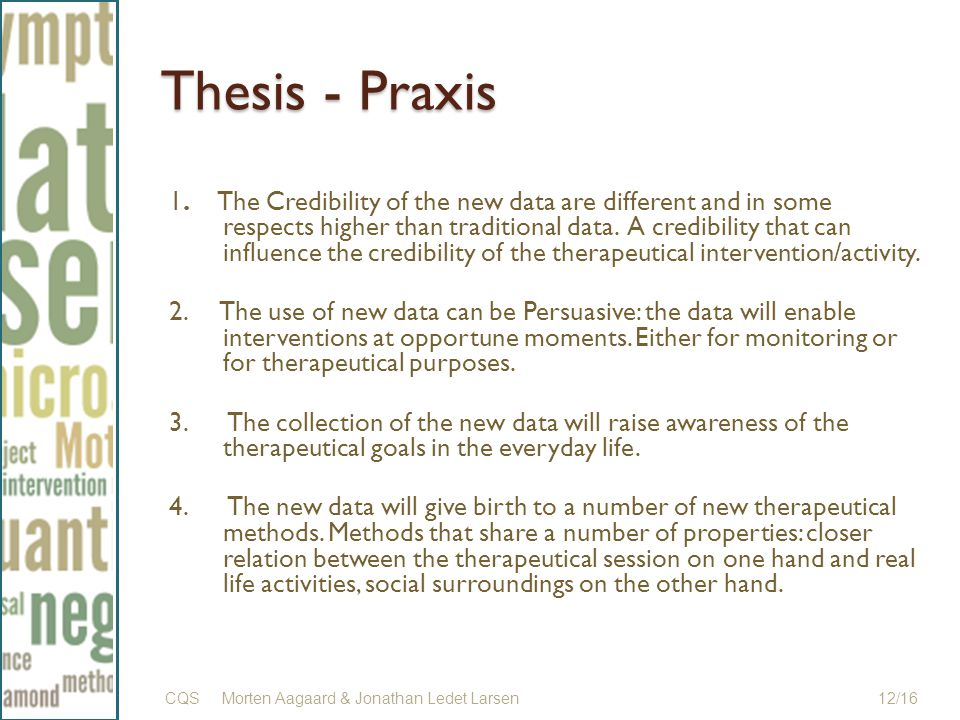 Thesis - Praxis 1.