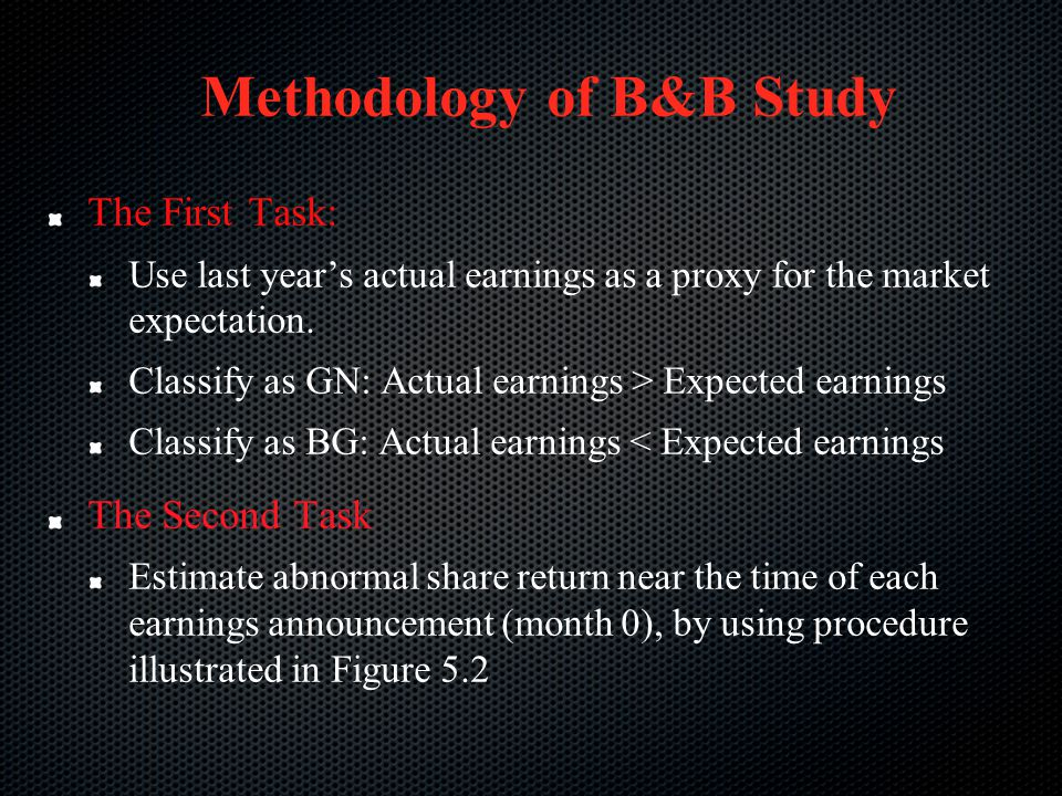 Methodology of B&B Study The First Task: Use last year's actual earnings as a proxy for the market expectation. Classify as GN: Actual earnings > Expe