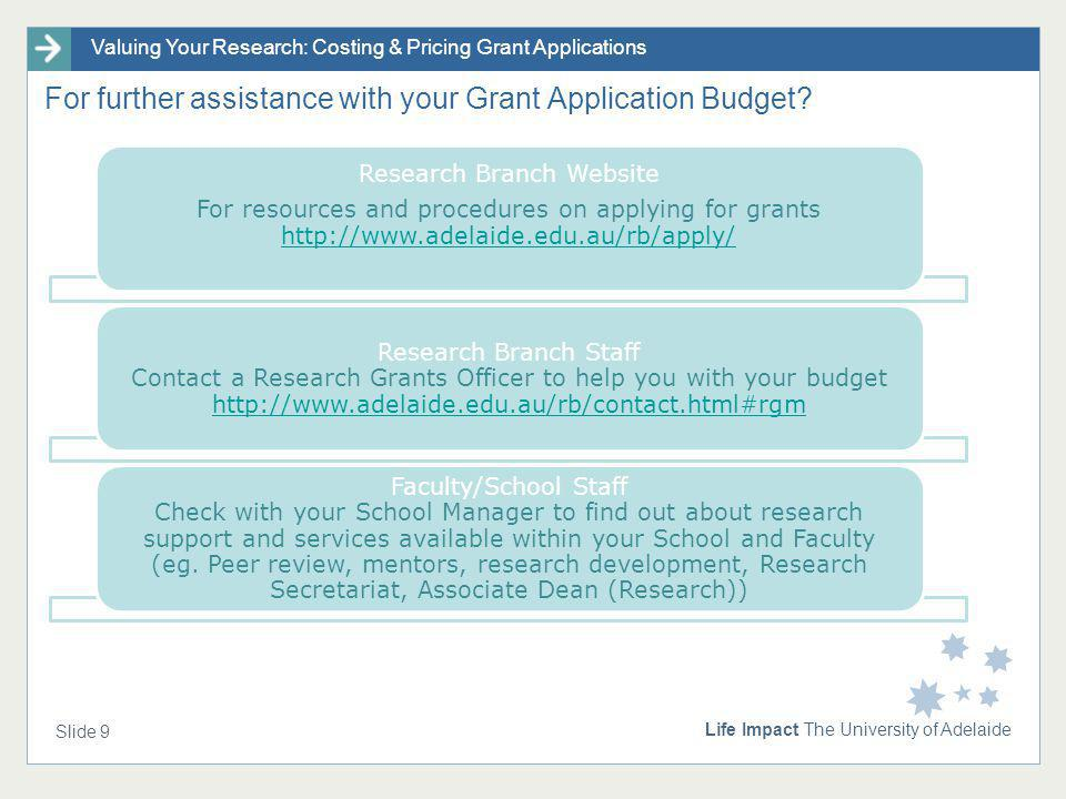 Valuing Your Research: Costing & Pricing Grant Applications Life Impact The University of Adelaide Slide 9 For further assistance with your Grant Appl
