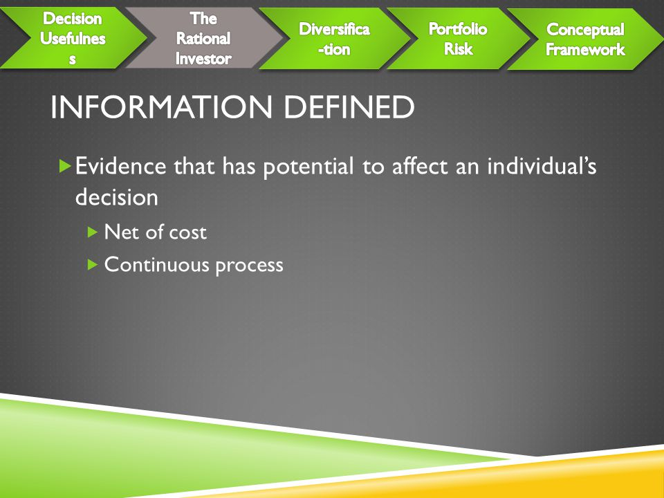 INFORMATION DEFINED  Evidence that has potential to affect an individual's decision  Net of cost  Continuous process