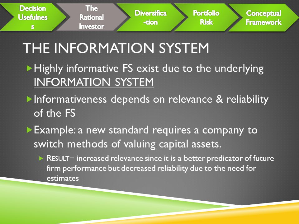 THE INFORMATION SYSTEM  Highly informative FS exist due to the underlying INFORMATION SYSTEM  Informativeness depends on relevance & reliability of