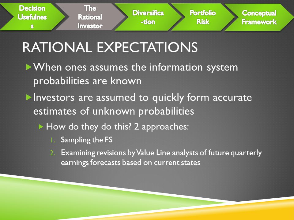 RATIONAL EXPECTATIONS  When ones assumes the information system probabilities are known  Investors are assumed to quickly form accurate estimates of