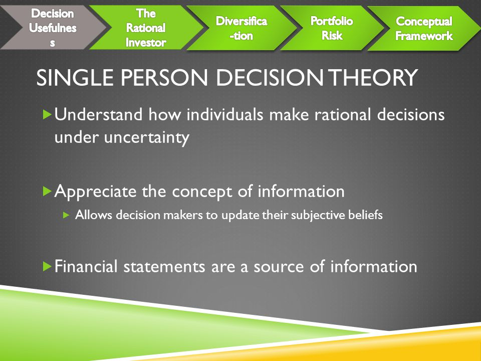 SINGLE PERSON DECISION THEORY  Understand how individuals make rational decisions under uncertainty  Appreciate the concept of information  Allows