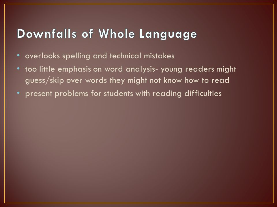 overlooks spelling and technical mistakes too little emphasis on word analysis- young readers might guess/skip over words they might not know how to read present problems for students with reading difficulties