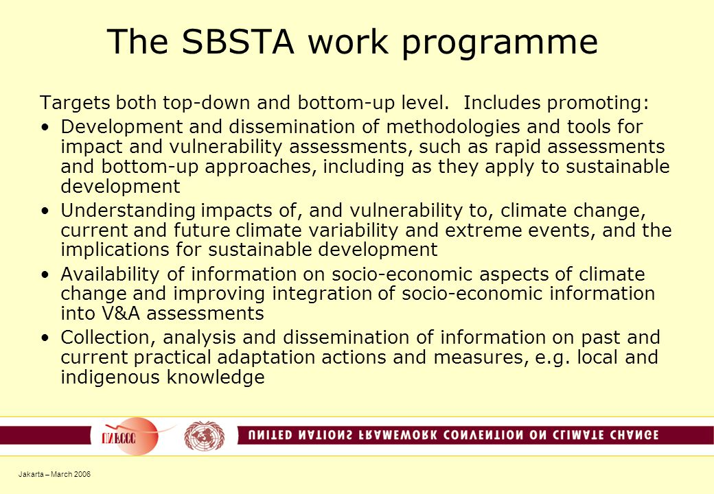 Jakarta – March 2006 The SBSTA work programme Targets both top-down and bottom-up level.