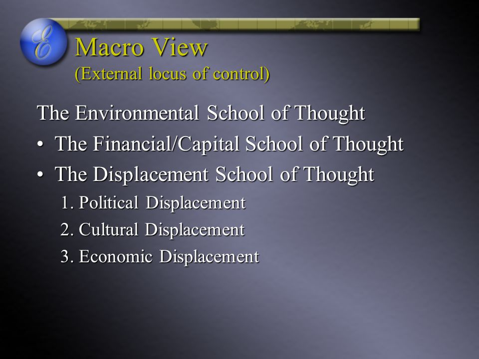 Macro View (External locus of control) The Environmental School of Thought The Financial/Capital School of ThoughtThe Financial/Capital School of Thou
