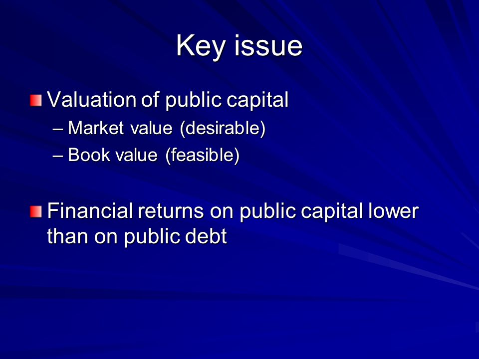 Key issue Valuation of public capital –Market value (desirable) –Book value (feasible) Financial returns on public capital lower than on public debt