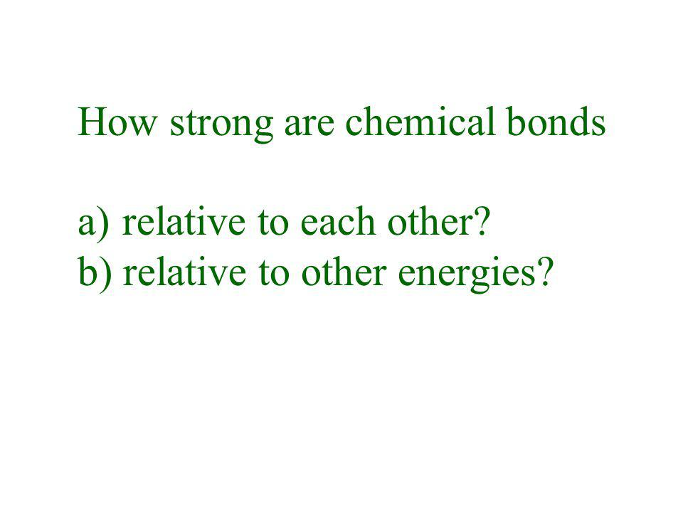 How strong are chemical bonds a) relative to each other? b) relative to other energies?
