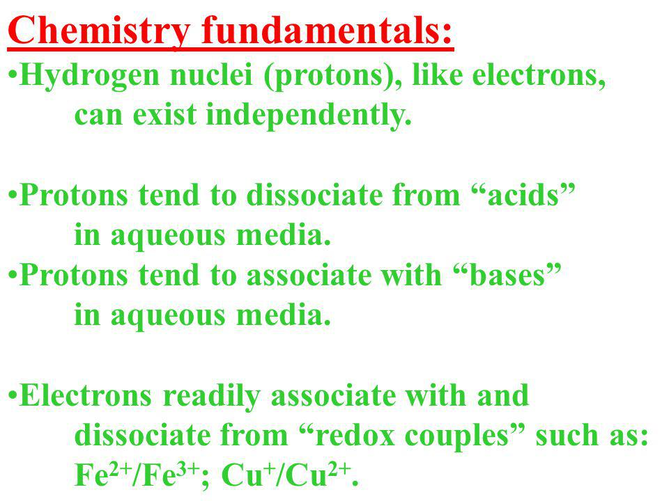 "Chemistry fundamentals: Hydrogen nuclei (protons), like electrons, can exist independently. Protons tend to dissociate from ""acids"" in aqueous media."