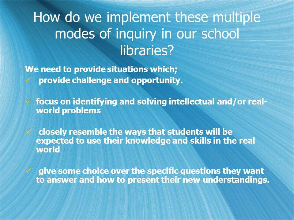 We need to provide situations where; an attempt is made to connect with students' background knowledge.