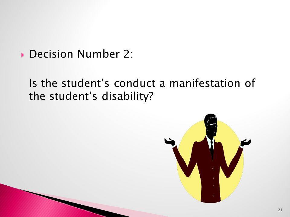  Decision Number 2: Is the student's conduct a manifestation of the student's disability 21