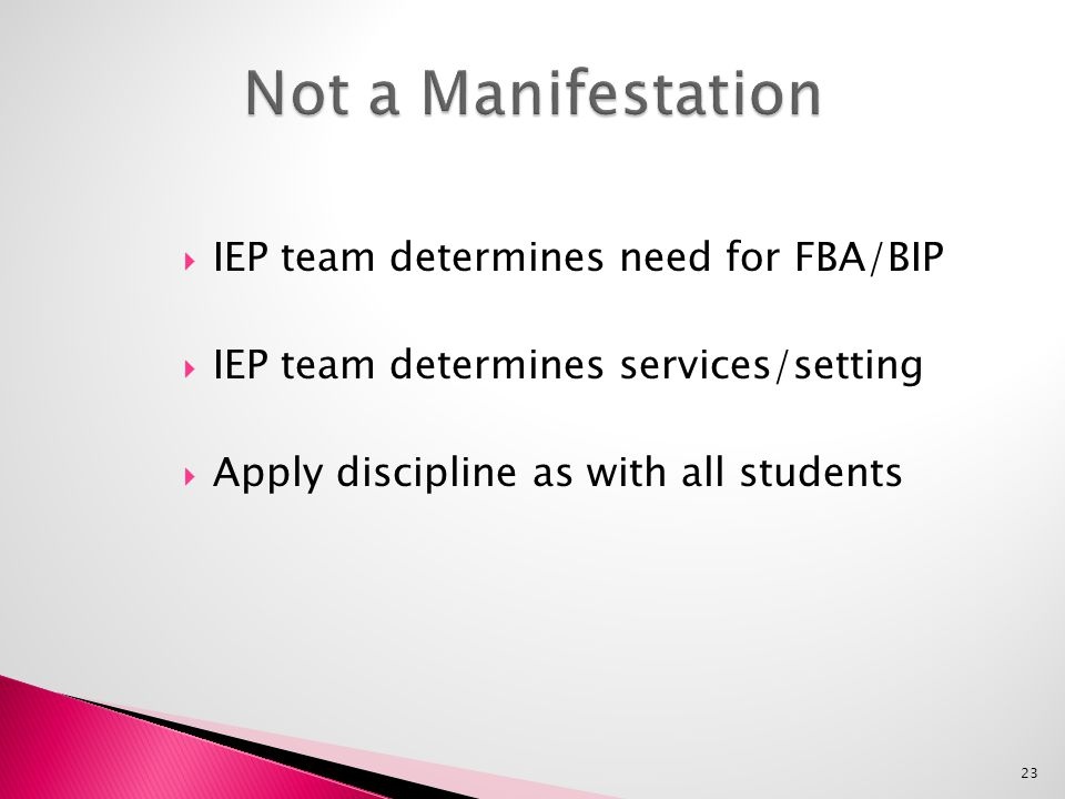  IEP team determines need for FBA/BIP  IEP team determines services/setting  Apply discipline as with all students 23