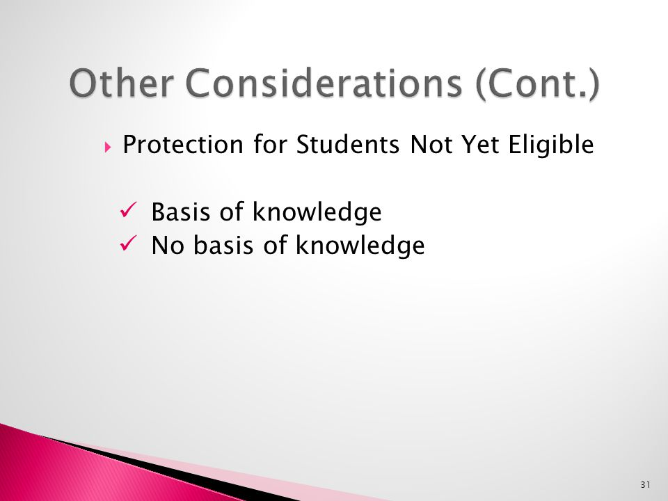  Protection for Students Not Yet Eligible Basis of knowledge No basis of knowledge 31