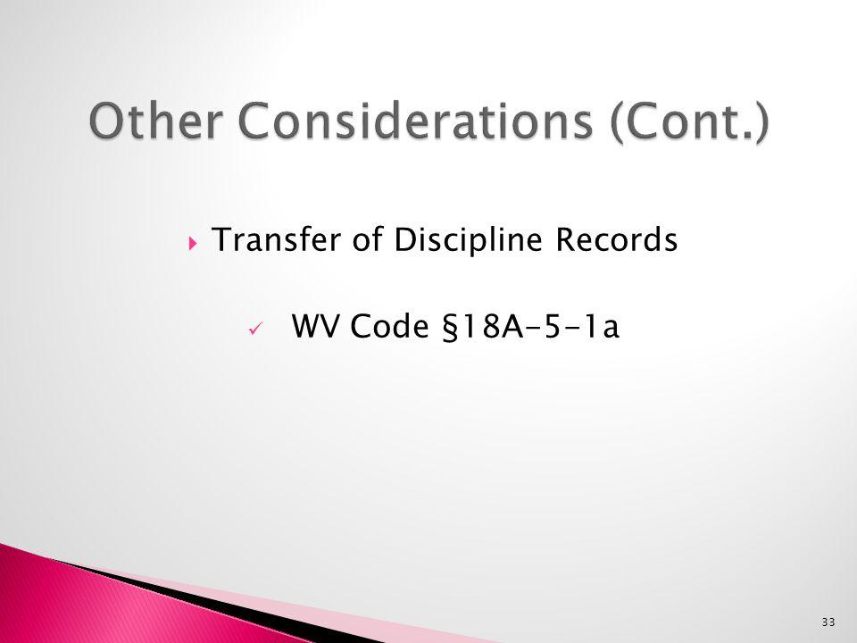  Transfer of Discipline Records WV Code §18A-5-1a 33