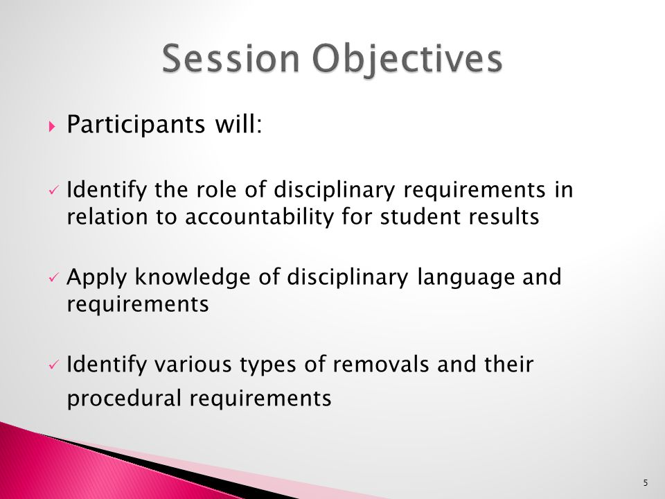  Participants will: Identify the role of disciplinary requirements in relation to accountability for student results Apply knowledge of disciplinary language and requirements Identify various types of removals and their procedural requirements 5