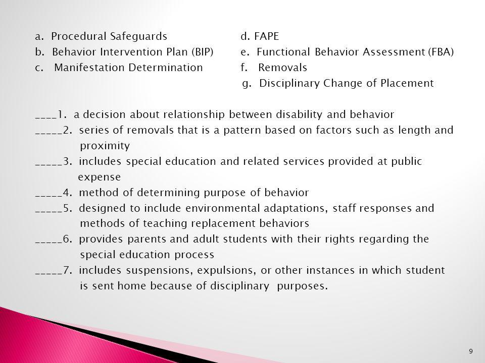 a. Procedural Safeguards d. FAPE b. Behavior Intervention Plan (BIP) e.