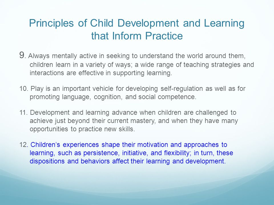 Principles of Child Development and Learning that Inform Practice 9. Always mentally active in seeking to understand the world around them, children l