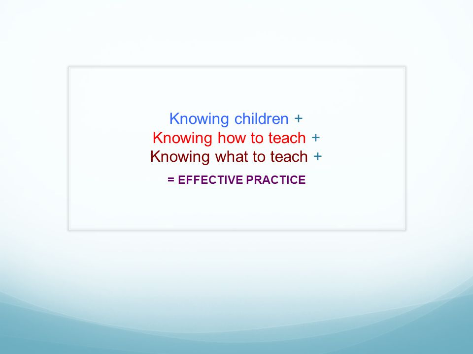 Knowing children + Knowing how to teach + Knowing what to teach + = EFFECTIVE PRACTICE