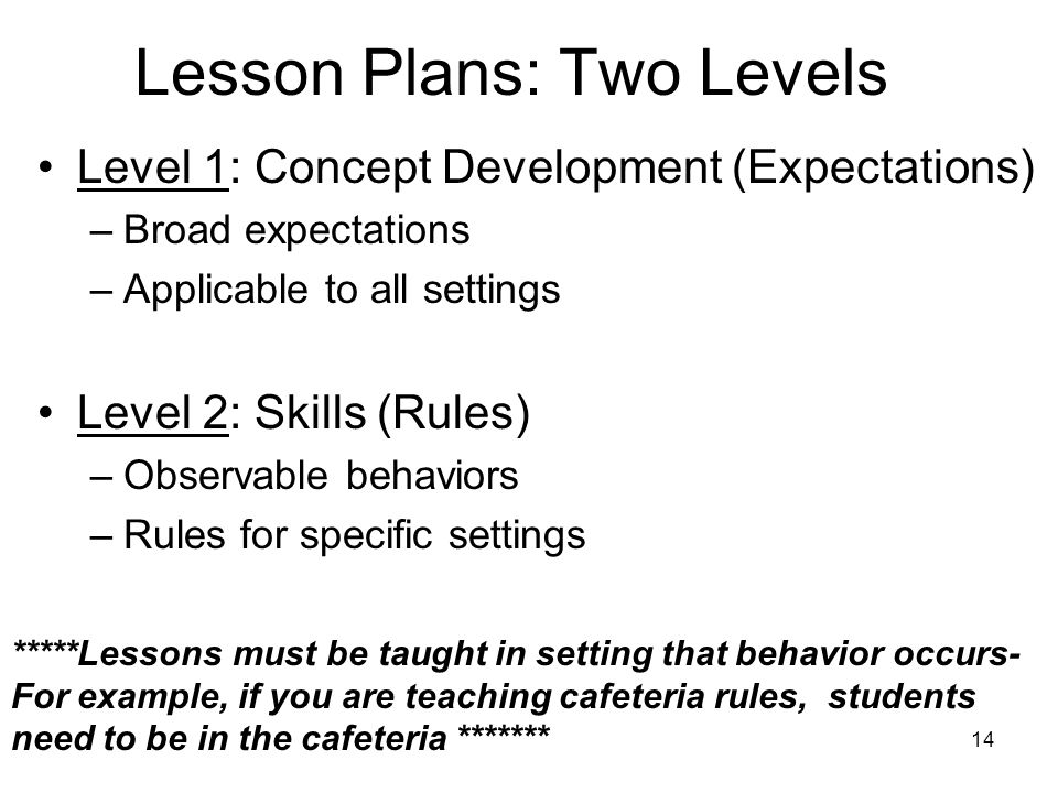 14 Lesson Plans: Two Levels Level 1: Concept Development (Expectations) –Broad expectations –Applicable to all settings Level 2: Skills (Rules) –Obser