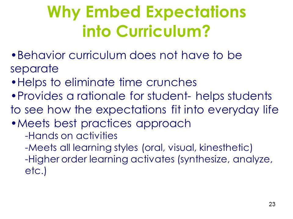 23 Why Embed Expectations into Curriculum? Behavior curriculum does not have to be separate Helps to eliminate time crunches Provides a rationale for