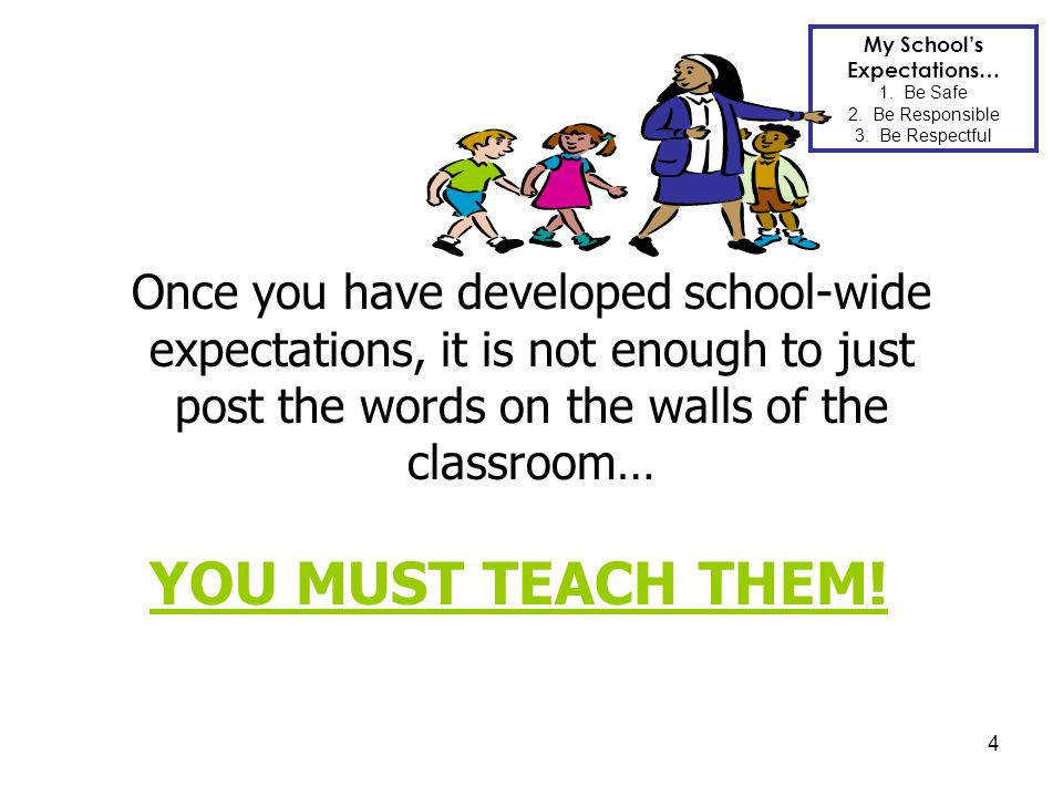 4 Once you have developed school-wide expectations, it is not enough to just post the words on the walls of the classroom… YOU MUST TEACH THEM! My Sch