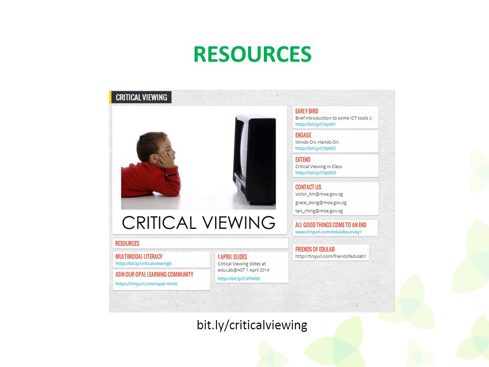 bit.ly/criticalviewing RESOURCES