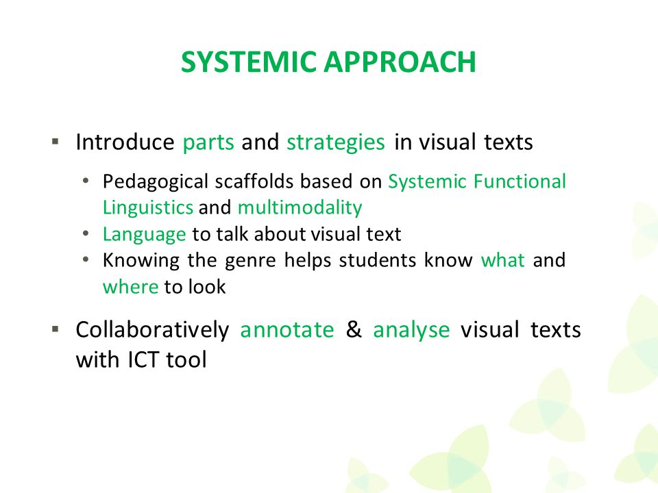 Pedagogical scaffolds based on Systemic Functional Linguistics and multimodality Language to talk about visual text Knowing the genre helps students k