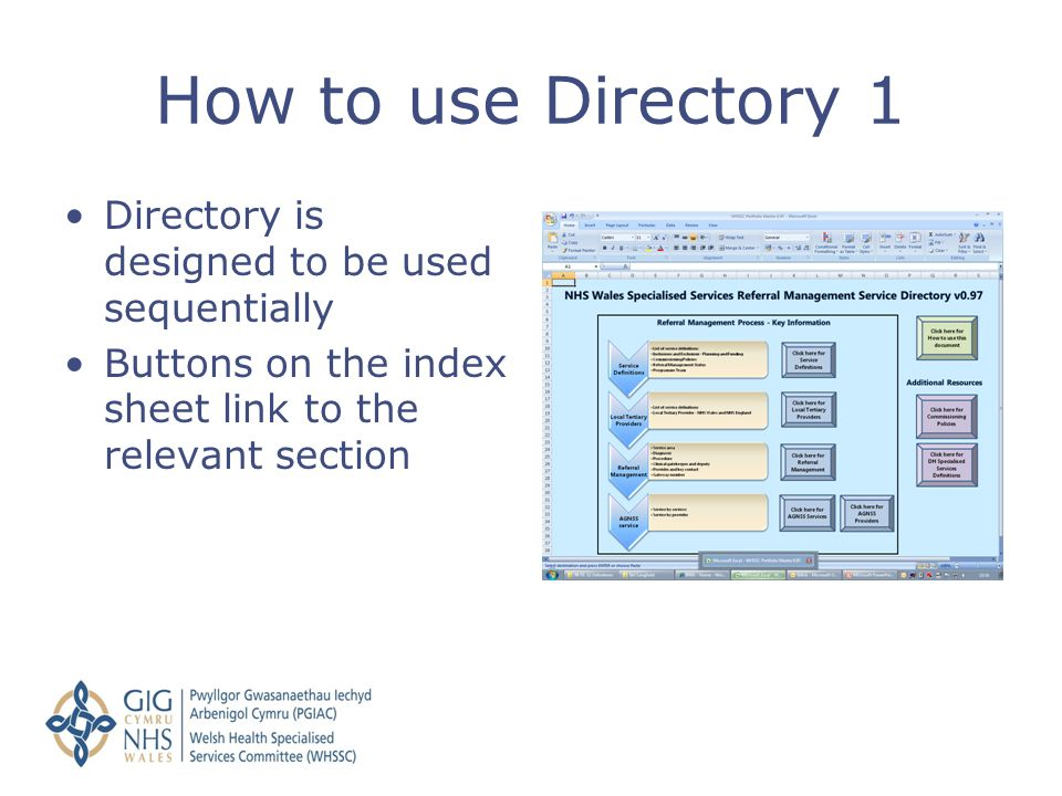 Directory is designed to be used sequentially Buttons on the index sheet link to the relevant section How to use Directory 1