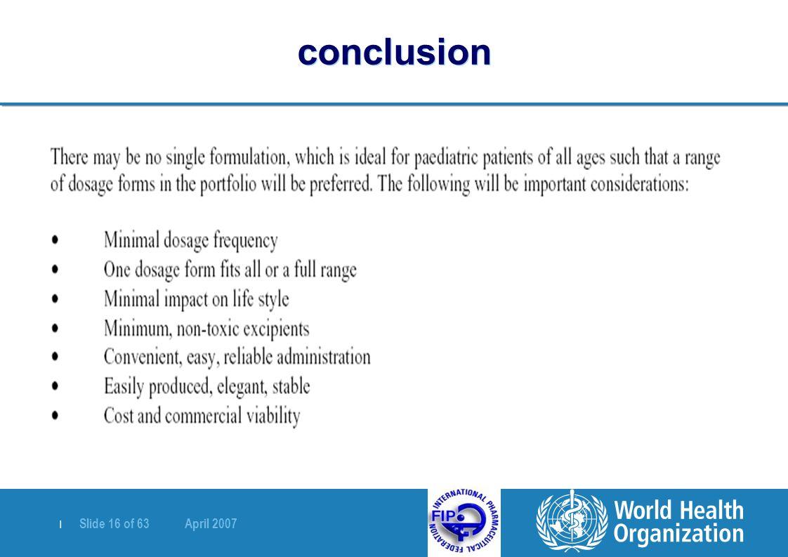 | Slide 16 of 63 April 2007 conclusion