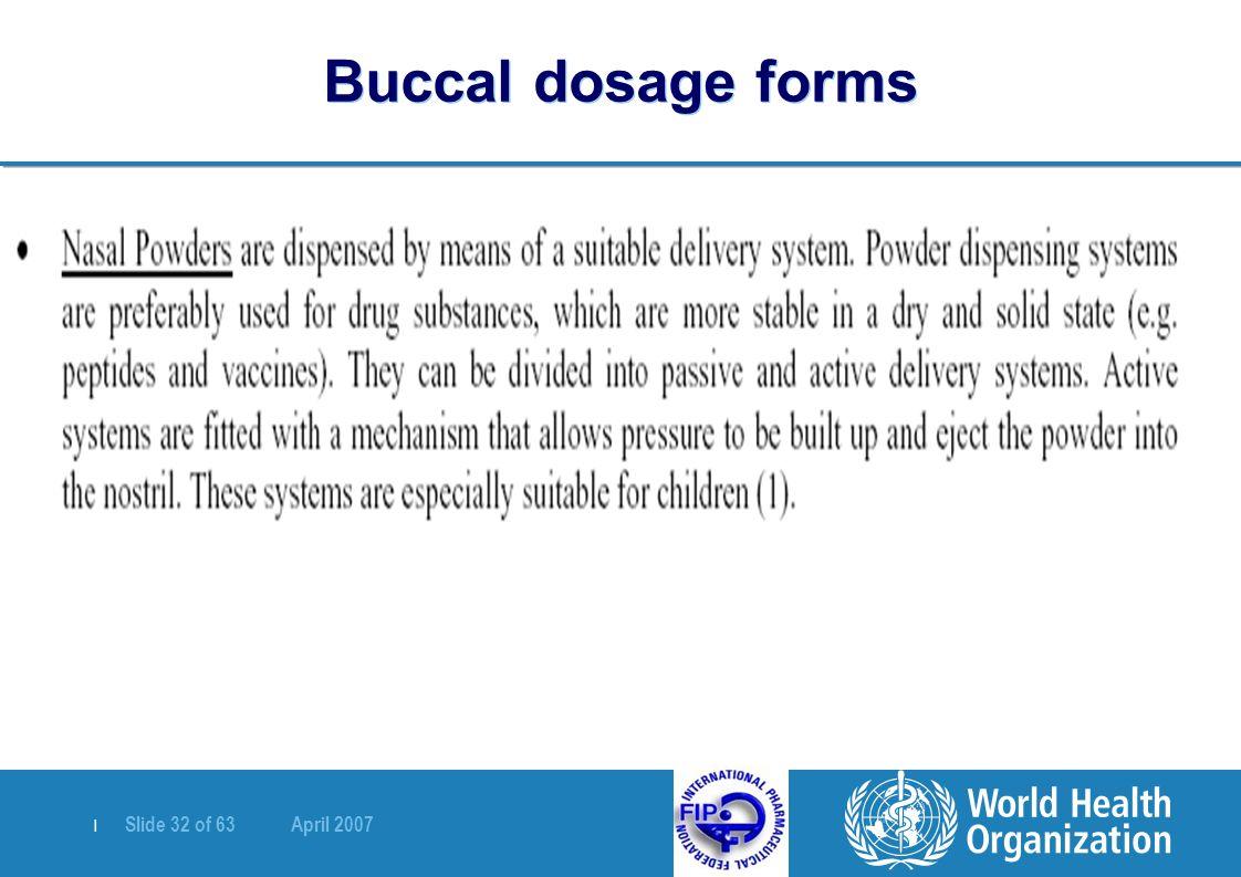 | Slide 32 of 63 April 2007 Buccal dosage forms