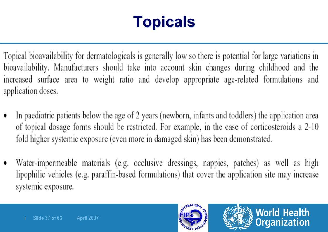 | Slide 37 of 63 April 2007 Topicals