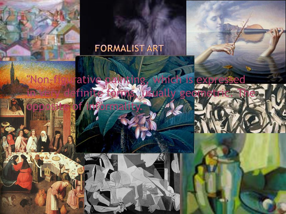 Non-figurative painting, which is expressed in very definite forms, usually geometric.