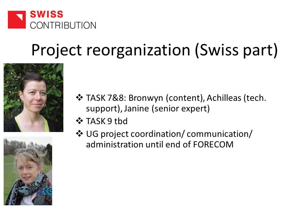 Project reorganization (Swiss part)  TASK 7&8: Bronwyn (content), Achilleas (tech.