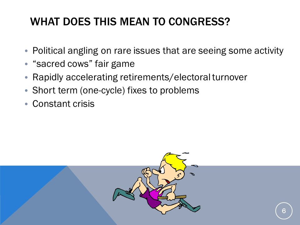 """WHAT DOES THIS MEAN TO CONGRESS? Political angling on rare issues that are seeing some activity """"sacred cows"""" fair game Rapidly accelerating retiremen"""