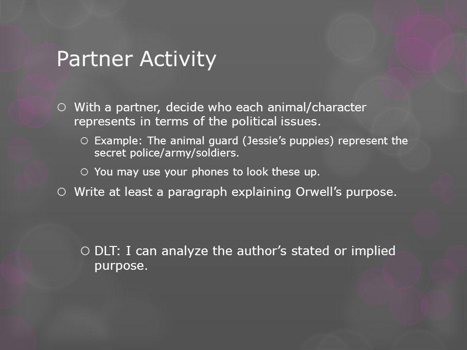 Partner Activity  With a partner, decide who each animal/character represents in terms of the political issues.