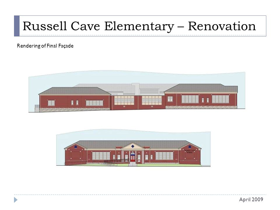 Russell Cave Elementary – Renovation Rendering of Final Façade April 2009