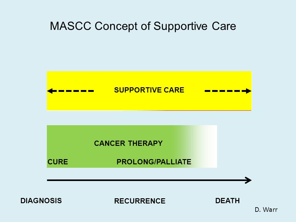 CANCER THERAPY CUREPROLONG/PALLIATE DEATHDIAGNOSIS RECURRENCE PALLIATIVE CARE TEAM MASCC Concept of Supportive Care SUPPORTIVE CARE D.