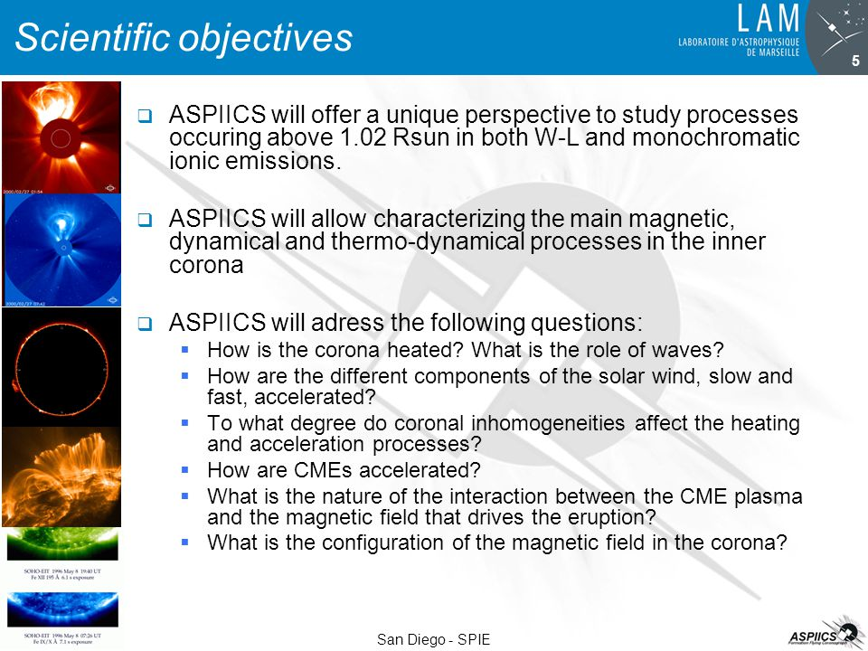 26 August 2007 San Diego - SPIE 5 Scientific objectives  ASPIICS will offer a unique perspective to study processes occuring above 1.02 Rsun in both W-L and monochromatic ionic emissions.