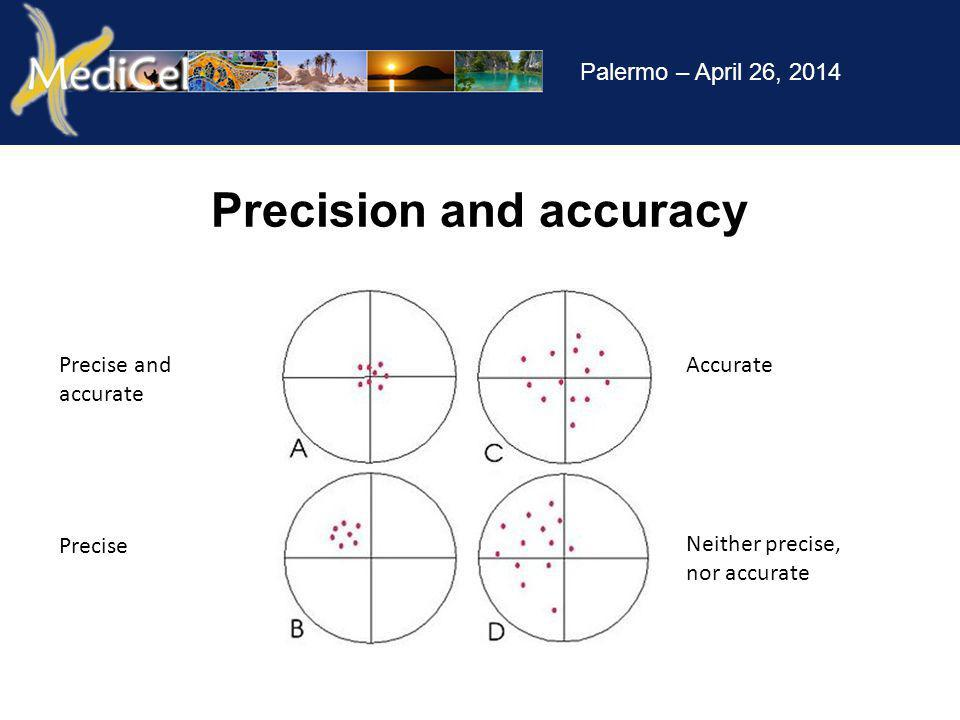 Palermo – April 26, 2014 Precise and accurate Precise Accurate Neither precise, nor accurate Precision and accuracy