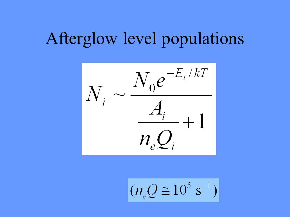 Afterglow level populations