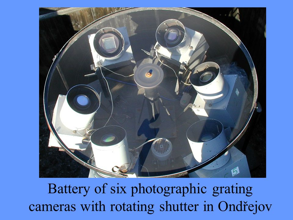 Battery of six photographic grating cameras with rotating shutter in Ondřejov