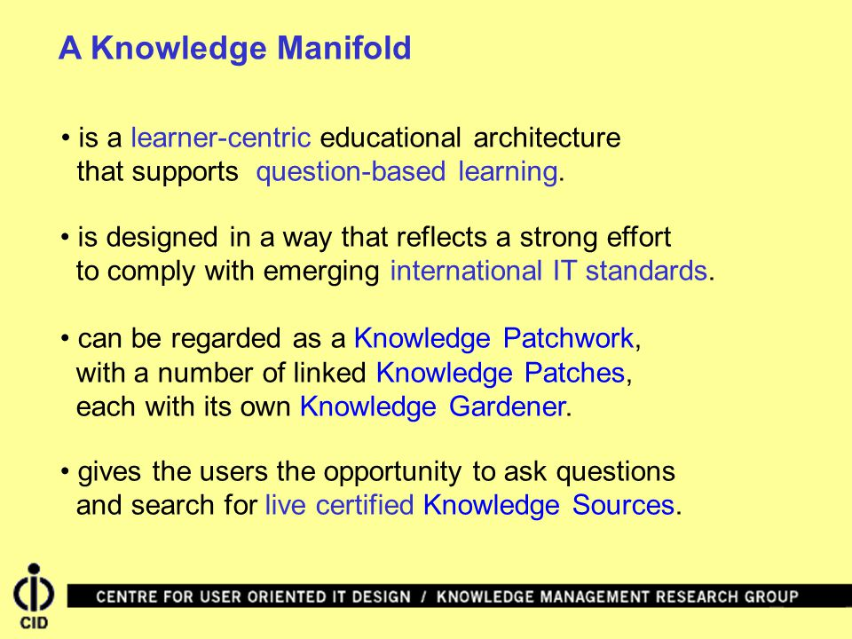 A Knowledge Manifold is designed in a way that reflects a strong effort to comply with emerging international IT standards.